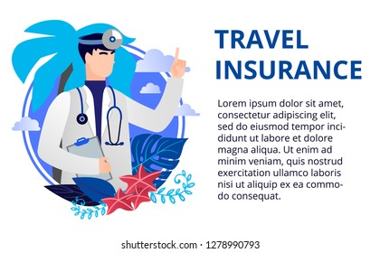Health care concept in flat style. Travel insurance concept. Online medicine concept. Vector illustration for web banners, brochure cover design and flyer layout template