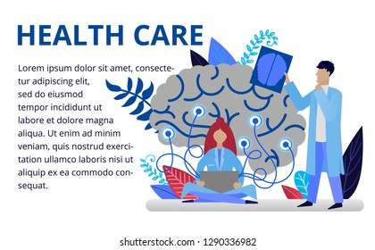 Health care concept in flat style. Doctors doing medical research. Online medicine concept. Vector illustration for web banners, brochure cover design and flyer layout template