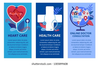 Health care concept in flat style. Three vertical banners. Online medicine concept, heart care. Vector illustration for web banners, brochure cover design and flyer layout template