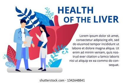 Health care concept in flat style. Doctors doing medical research. Liver disease, cirrhosis. Vector illustration for web banners, brochure cover design and flyer layout template