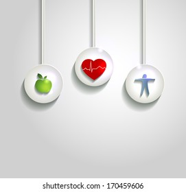 Health care concept illustration. Wellness symbols,   Healthy heart, healthy food and fitness.  Healthy living leads to healthy heart.