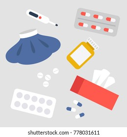 Health care concept. A medical set: ice pack, pills, thermometer, tissue box. Vector flat illustration, clip art