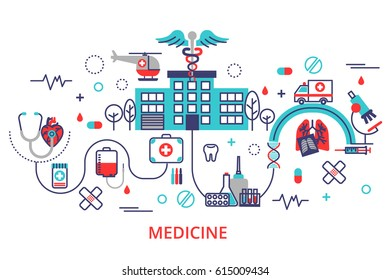 Health care concept in modern flat line style. Horizontal banner with hospital, ambulance and a lot of medicine icons.