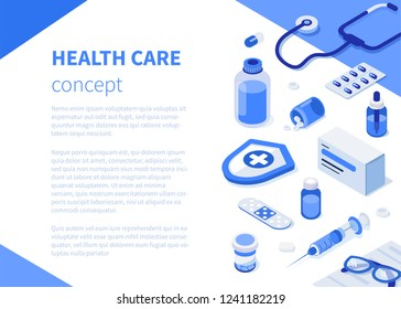 Health care concept with text place. Can use for web banner, infographics, hero images. Flat isometric vector illustration isolated on white background.