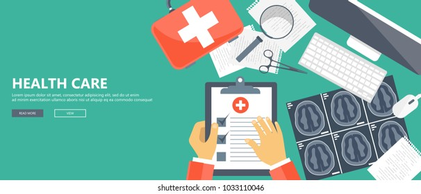 Health care concept. Wooden desk with medical equipment. Flat vector illustration