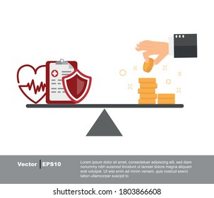 Health care costs. healthcare concept and money stack