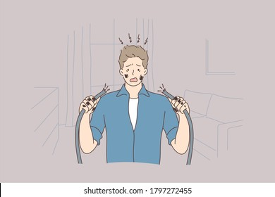 Health, care, danger, repair, electricity concept. Young man guy getting electric shock connecting broken electrical cables at home. Domestic accident electrocution dangerous occupation illustration.