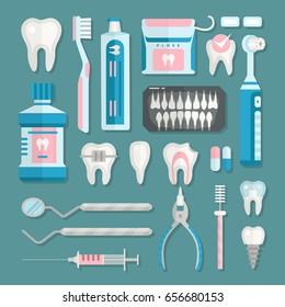 Health care dentist medical tools medicine instrument stomatology icons implantation clinic vector illustration.
