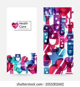 Health care design collection. Medical vector illustration for pharmaceutical products and laboratory, hospital or clinic advertising. Vertical flyers.