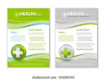 Health care document templates with three dimensional glossy cross icon
