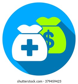 Health Care Funds long shadow icon. Style is a light flat symbol with rounded angles on a blue round button.
