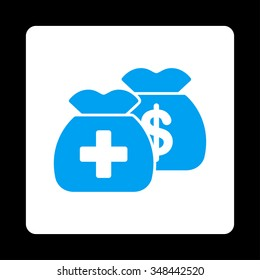 Health Care Funds vector icon. Style is flat rounded square button, blue and white colors, black background.