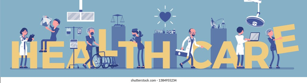 Health care giant letters, doctors. Medical help, professional hospital support symbol, clinic organization with licensed professionals for treatment, therapy. Vector illustration, faceless characters
