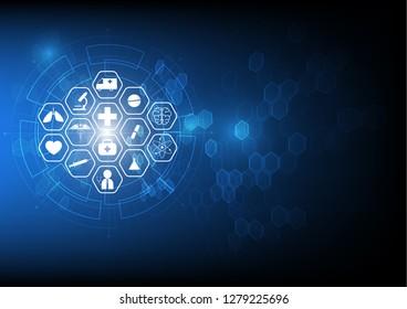 health care icon  medical innovation concept design blue hexagon background
