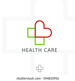 Health Care Logo Cross Plus With Heart Medical Vector Icon Design Template