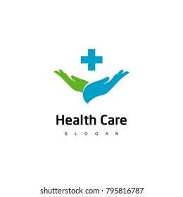 Health Care Logo, For Medical Center, With line Cross Symbol In Hand