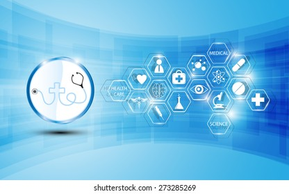 health care logo and medical icon abstract background