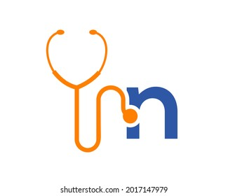 Health care logo with N letter concept. Stethoscope logo N letter concept. Phonendoscope logotype