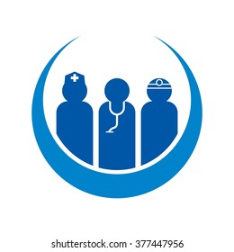 health care logo vector. medical staff icon.