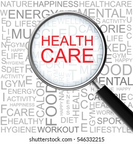 Health Care. Magnifying glass over seamless background with different association terms.