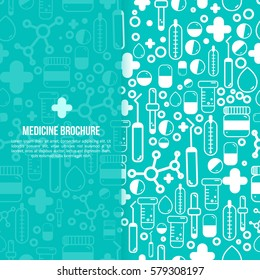Health Care Medical Brochure design Layout. Vector flyer in square size with outline pharmacy items.