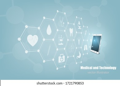 Health care and medical icon in innovation concept background design,vector illustrater