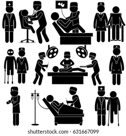 Health Care in Medical Institution. Stick Figure Pictogram Icon Vector