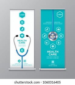 health care and medical roll up design, standee and banner template decoration for exhibition, printing, presentation and brochure flyer concept vector illustration