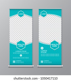 health care and medical roll up with place for photos design, standee and banner template decoration for exhibition, printing, presentation and brochure flyer vector illustration