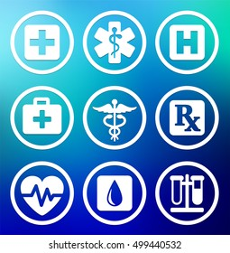 Health care and Medical Symbols on Blue Round Buttons