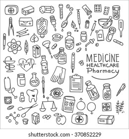 Health care and medicine doodle icon set, vector illustration