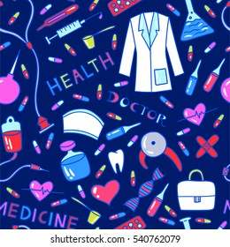 Health care and medicine seamless pattern. Vector illustration of medical supplies and pharmacy icons.