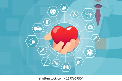 Health care network concept. Vector of a doctor holding red heart offering medical help and assistance