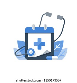 Health care program, medical services, annual check up, preventive examination, stethoscope vector icon, flat illustration