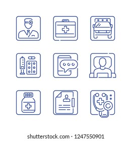 Health care service, first aid medicine, medical help, emergency ambulance, doctor attendance, stethoscope symbol, patient in bed, vector outline icon set