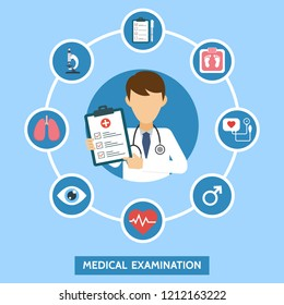 Health care services concept with infographics elements. Medical examination. Banner with doctor and medical tests. Online doctor diagnosis. Hospital equipment. Vector illustration.