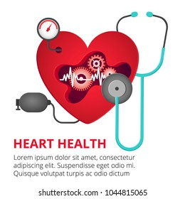 Health care, stethoscope, cardiogram, health monitoring, concepts set. Modern flat design concepts for web banners, web sites, printed materials, infographic. Creative vector illustration