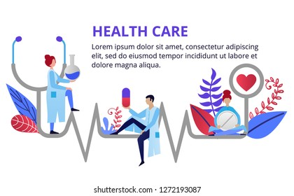 Health care, stethoscope, cardiogram, health monitoring with doctors. Modern flat design concepts for web banners, web sites, printed material. Creative vector illustration
