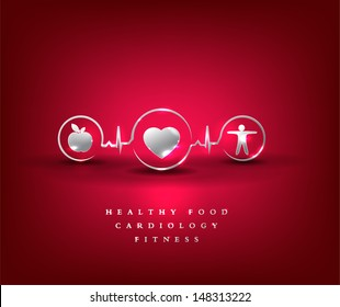 Health care symbol. Healthy food and fitness leads to healthy heart and life. Bright and bold design.