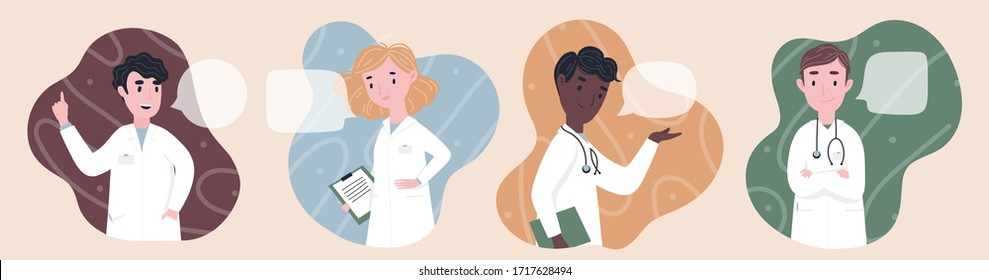 Health care workers team concept. Man and woman doctors characters standing, full body. Doctors in masks. Flat cartoon style vector illustration for card, online site, banner ad and more