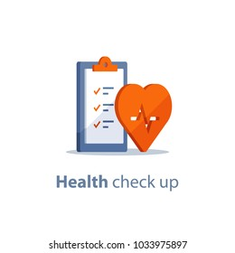 Health check up checklist, cardiovascular disease prevention test, heart diagnostic, electrocardiography service, undergo ecg procedure, medical checkup clipboard, hypertension risk, vector flat icon
