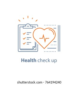 Health check up checklist, cardiovascular disease prevention test, heart diagnostic, electrocardiography service, undergo ecg procedure, medical checkup clipboard, hypertension risk, vector line icon