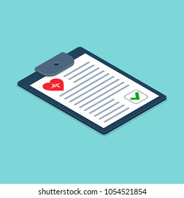 Health check form on clipboard. Vector Medical Checklist illustration isometric 3d health checkup healthcare concept.