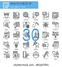 Health Check up , Thin Line and Pixel Perfect Icons
