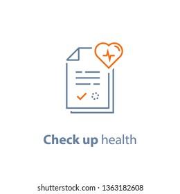 Health check up, cardiovascular disease prevention test, heart diagnostic, electrocardiography service, undergo ecg procedure, medical checkup, hypertension risk, vector line icon