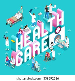 Health Clinic Care Concept. Day Hospital Staff Doctor Nurse Patient treatment Isometric Hero People icon. Medical Worker Diagnostic Emergency Surgery Vector healthcare medicine infographic images