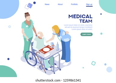 Health collection. Clinic center, hospital interface. Healthcare, modern doctor team. Medical app. Team career web banner. Flat isometric illustration isolated on white background.