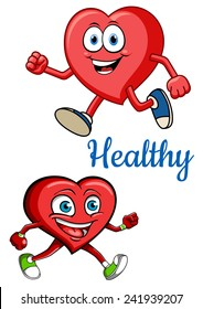 Health concept for cardiology and healthcare design with red cartoon jogging smiling heart characters with blue caption Healthy