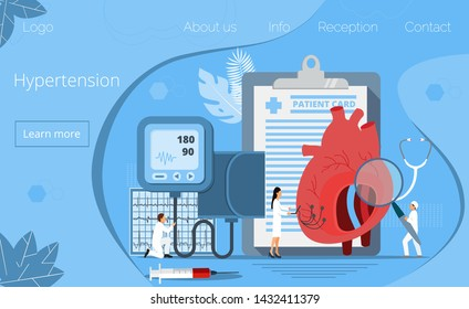 Health concept of hypertension disease tiny doctors treat, heart attack. Symptoms and prevention blood pressure health or healthy vector, it is landing page, website, app, banner.
