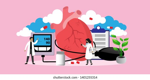 Health concept of hypotension and hypertension disease. Symptoms and prevention blood pressure health or healthy vector illustration, can use for, landing page, template, ui, web, mobile app, poster,